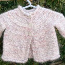 Pink Hand Knit Angora, Wool & Silk Baby Sweater
