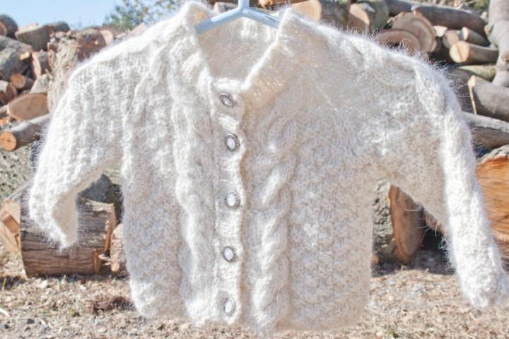 Aran Baby Sweater handknit with handspun angora rabbit yarn