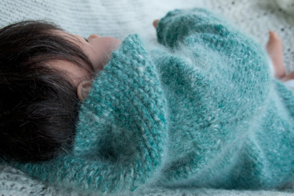 handknit angora baby pullover hoodie