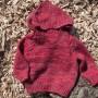 red baby hoodie sweater handspun handknit