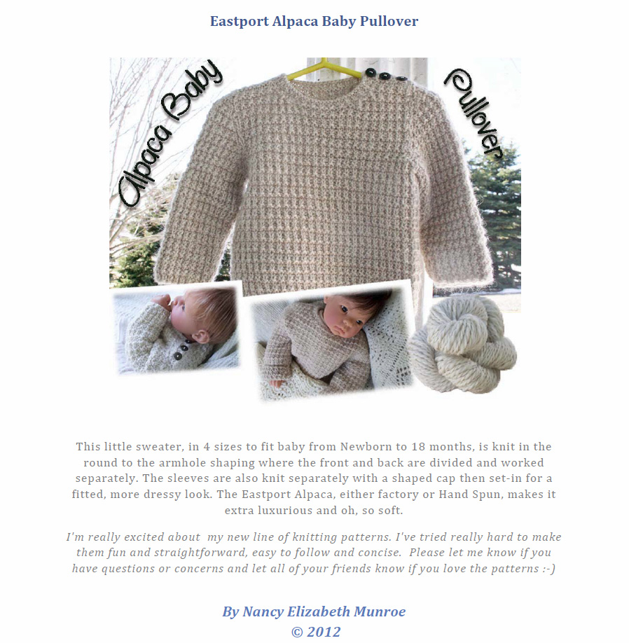 e17321b82 Eastport Alpaca Baby Sweater Pullover Knitting Pattern