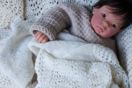 Handknit and handspun baby blanket and sweater