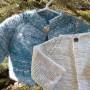 Blue Angora and White Merino Silk Baby Jackets