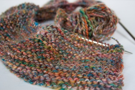 knitting with merino wool and silk blend handspun