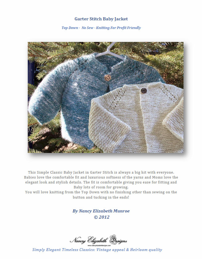 Knitting Pattern Baby Jacket Garter Stitch : Top Down Garter Stitch Baby Jacket Pattern Download Nancy Elizabeth Designs