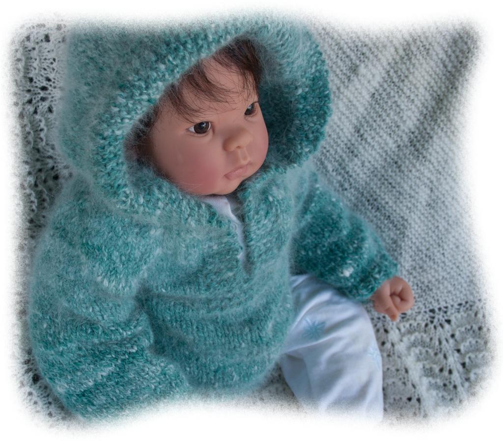 Knitted Flowers Pattern : Top Down Hoodie Baby Sweater Knitting Pattern Nancy Elizabeth Designs