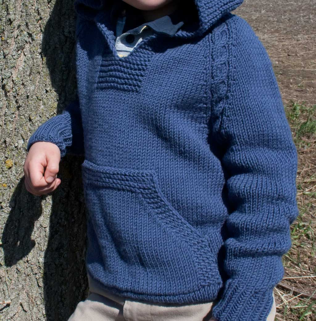 Knitting Pattern Hoodie Child : Atherton the Top Down No Sew Hoodie with Cable Trim for ...