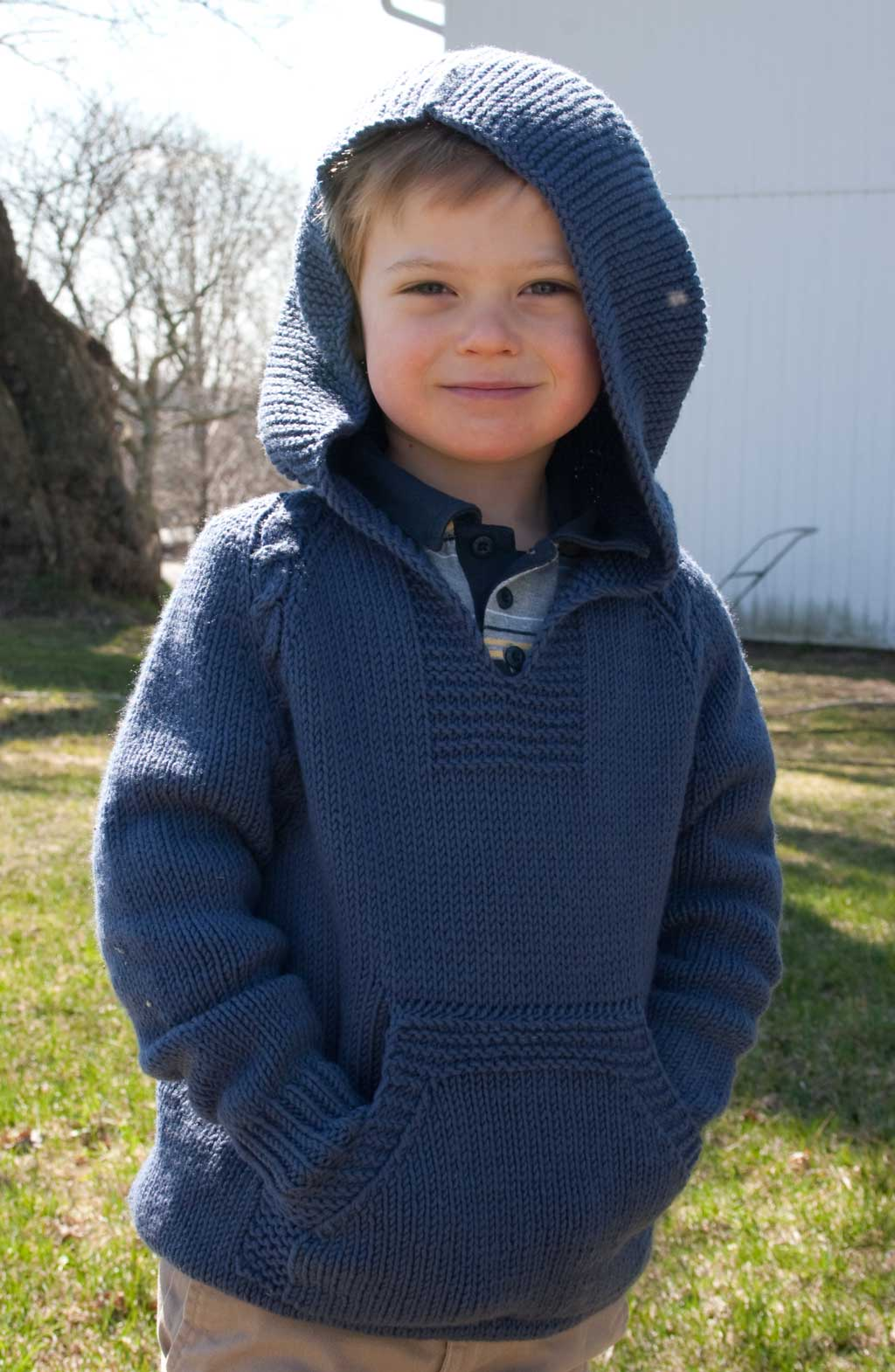 Atherton the Top Down No Sew Hoodie with Cable Trim for Kids Nancy Elizabet...