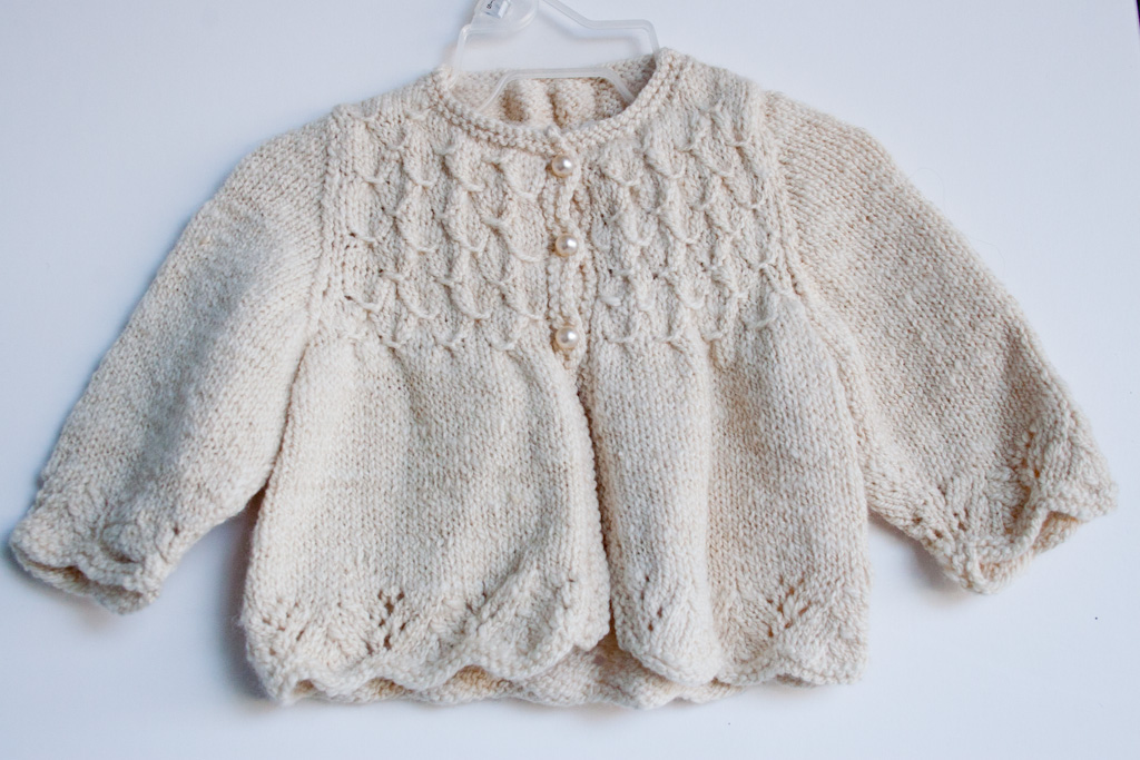 Handknit Smocked Baby Sweater In Handspun Merino Wool Silk Nancy