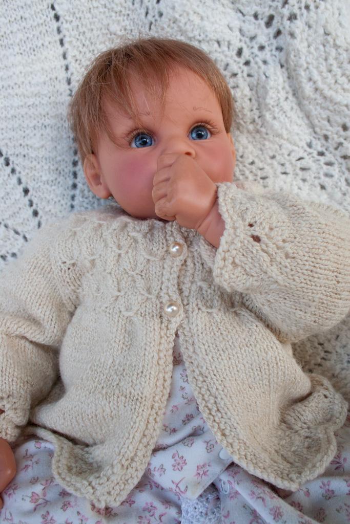 Handknit Smocked Baby Sweater In Handspun Merino Wool