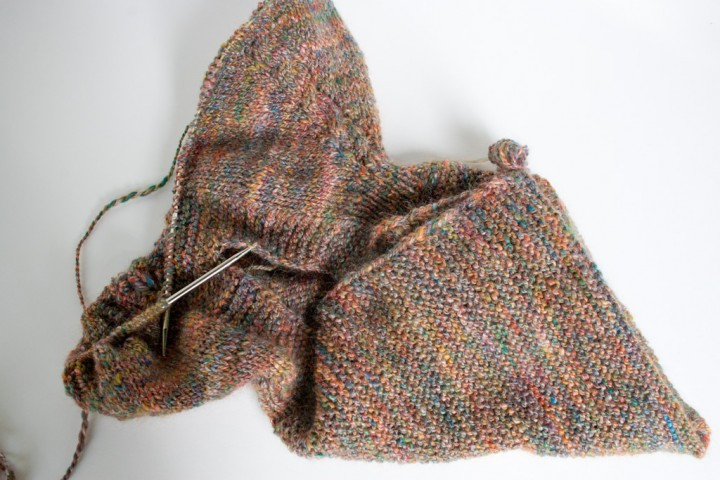 handspun and handknit merino silk top down hoodie