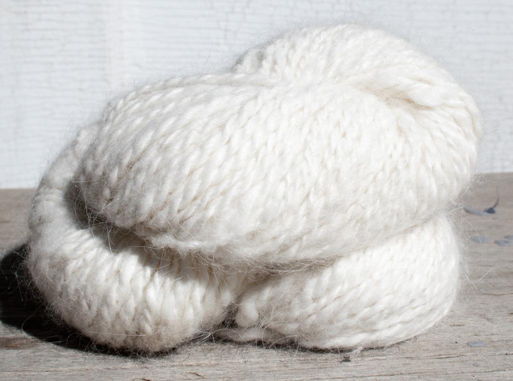 Natural White French Angora Rabbit Hand Spun Yarn Singles