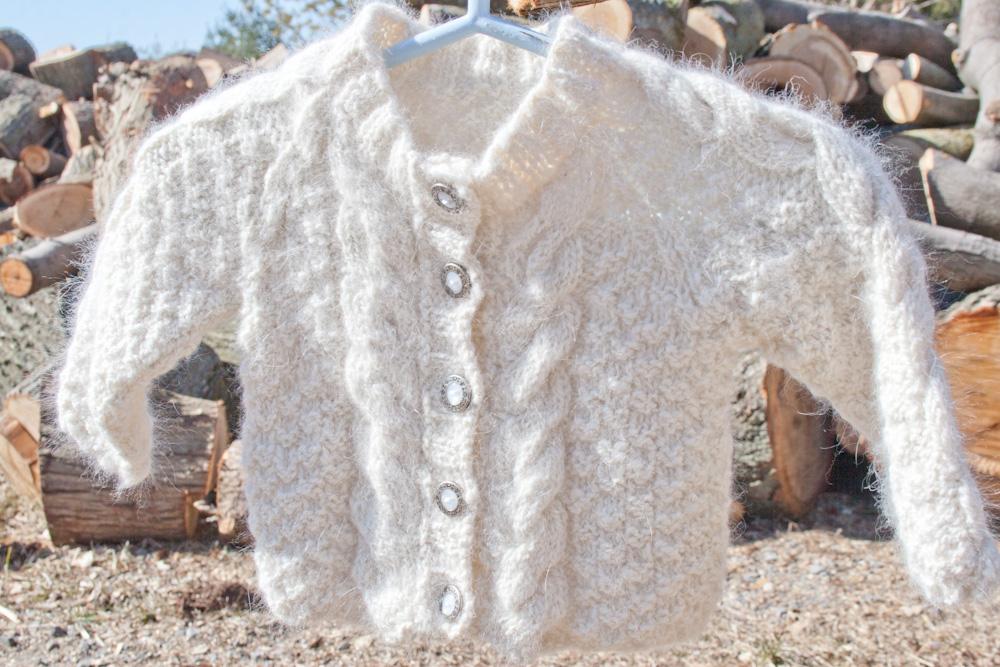 Knitting Patterns Angora Wool : Handspun Handknit Angora Aran Baby Sweater Nancy ...