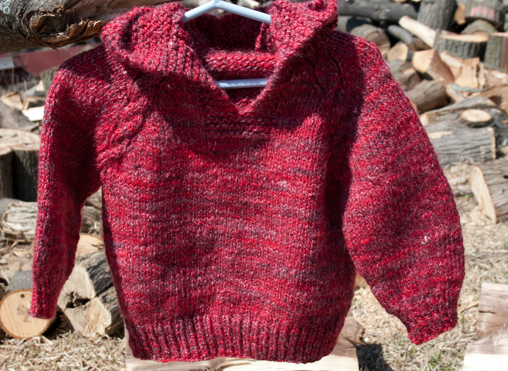 Merino Silk Luxury Red Baby Hoodie Sweater Handspun Hand