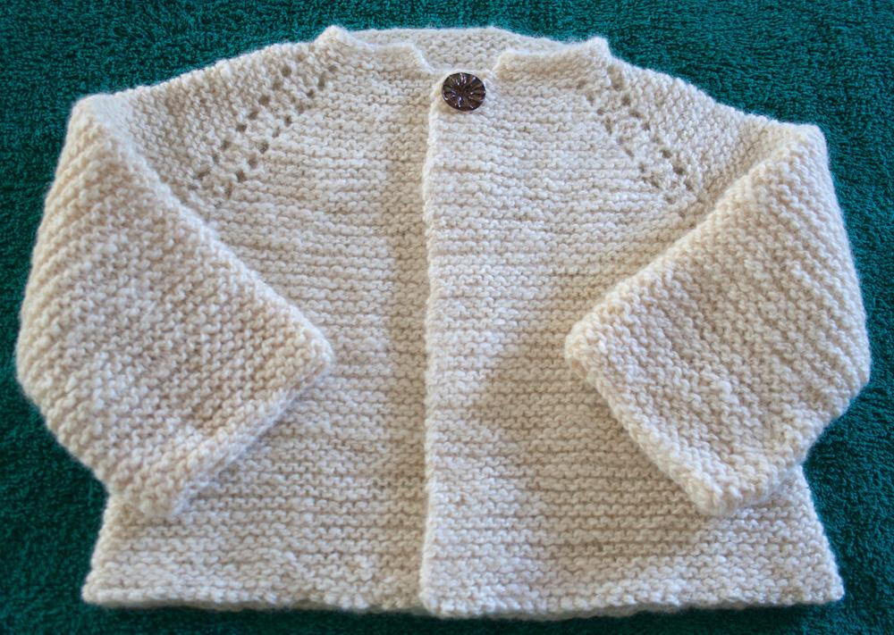 Handspun Handknit Garter Stitch Baby Jacket | Nancy Elizabeth Designs