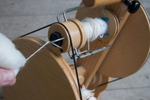 spinning alpaca yarn on louet spinning wheel