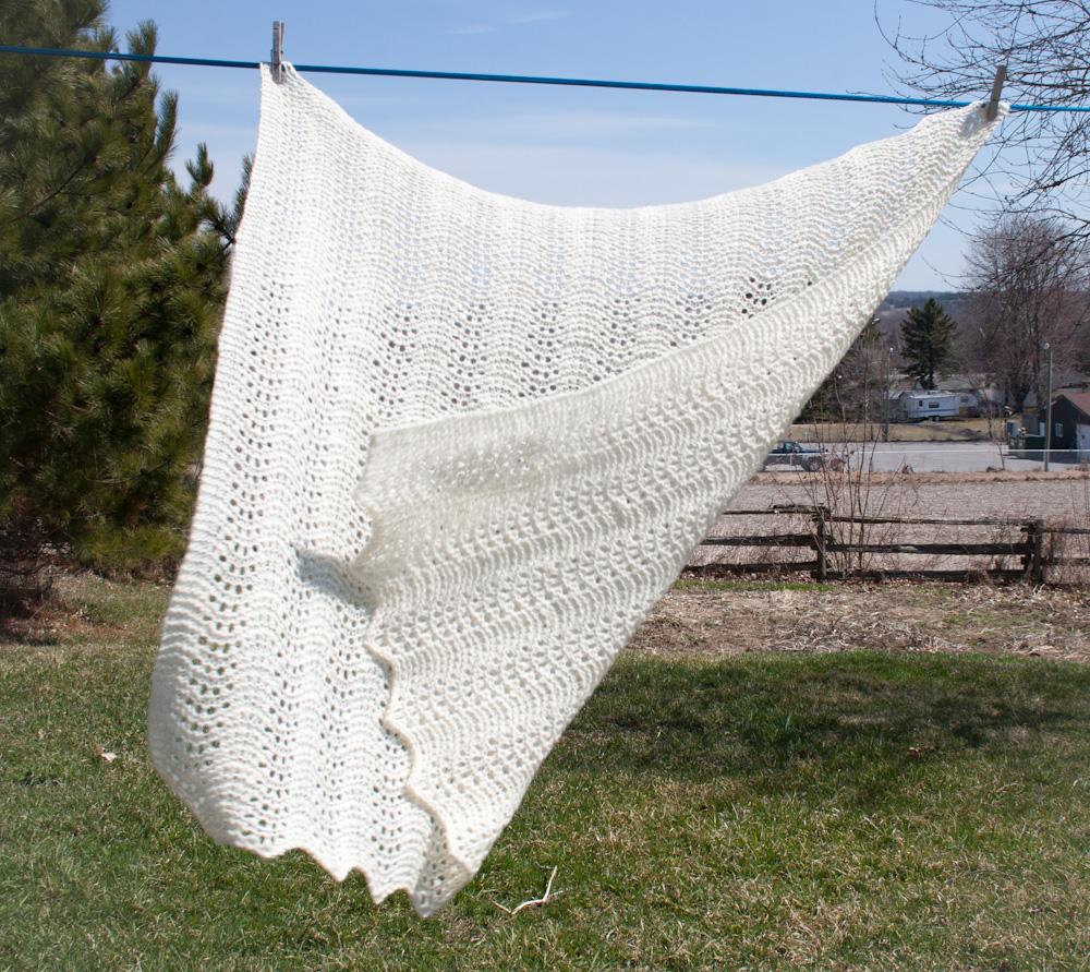 Handspun Handknit Old Shale Lace Baby Blanket | Nancy Elizabeth Designs