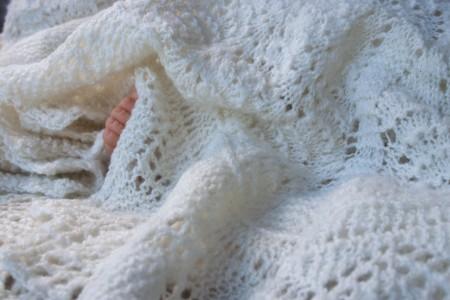 Handknit Merino Silk Lace Blanket