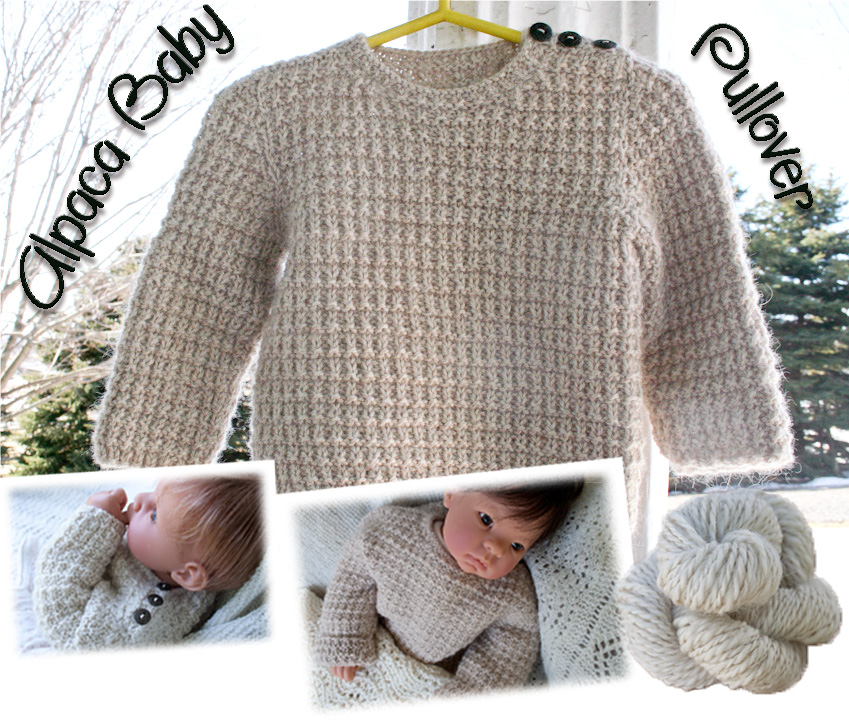 Alpaca Knitting Patterns : Hand knit Alpaca Baby Sweater Pullover Nancy Elizabeth Designs
