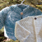 Blue Angora and White Merino Silk Baby Jackets