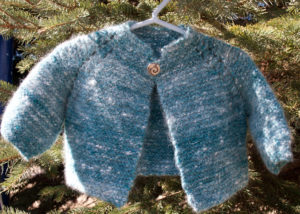 blue angora garter stitch jacket