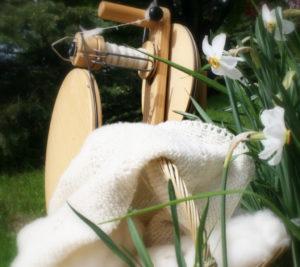 hand spinning cashmere fiber into yarn