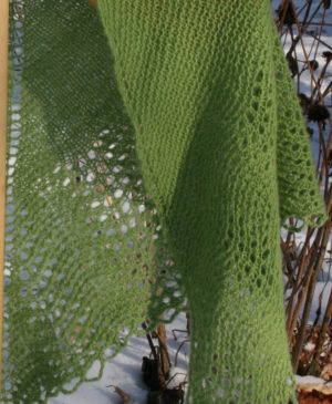 handknit lace shawl of hand dyed and handspun cashmere yarn