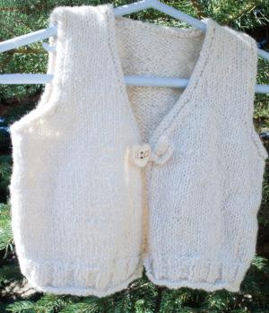 handknit from handspun cashmere baby vest
