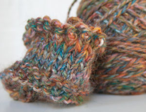 knitting Merino and Silk handspun yarn