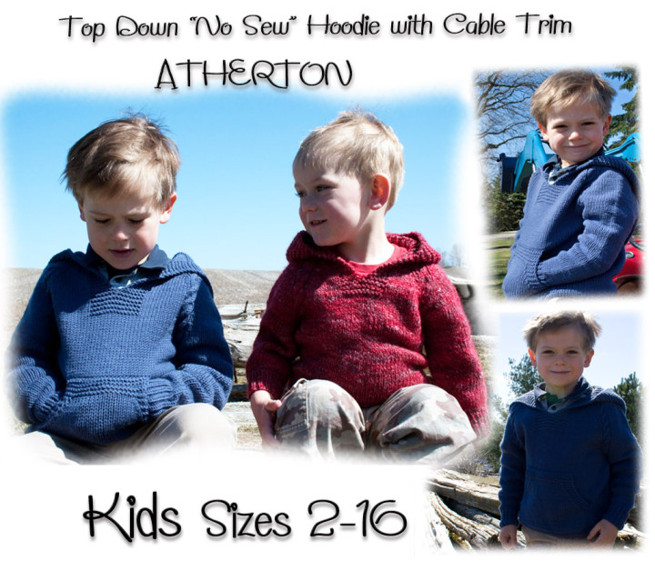 Atherton a Top-Down-Hoodie knitting pattern for kids
